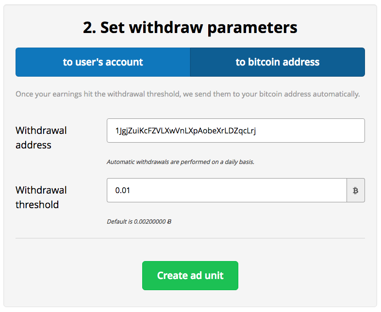 How To Earn Bitcoin With A-Ads - Withdrawal Address and Threshold
