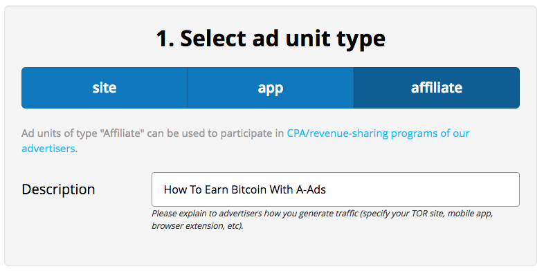 How To Earn Bitcoin With A-Ads - Affiliate Description